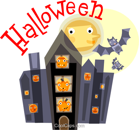Halloween scene Royalty Free Vector Clip Art illustration vc110538