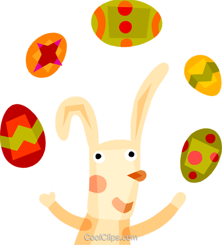 Easter bunny juggling Easter eggs Royalty Free Vector Clip Art illustration vc110554