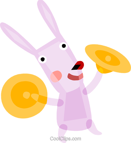 Easter bunny playing the cymbals Royalty Free Vector Clip Art illustration vc110557