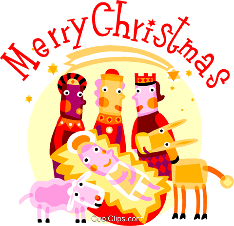 Wise men with baby Jesus and animals Royalty Free Vector Clip Art illustration vc110687