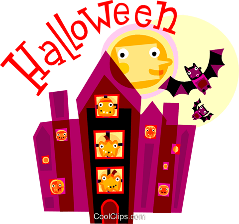 Haunted Houses Royalty Free Vector Clip Art illustration vc110693