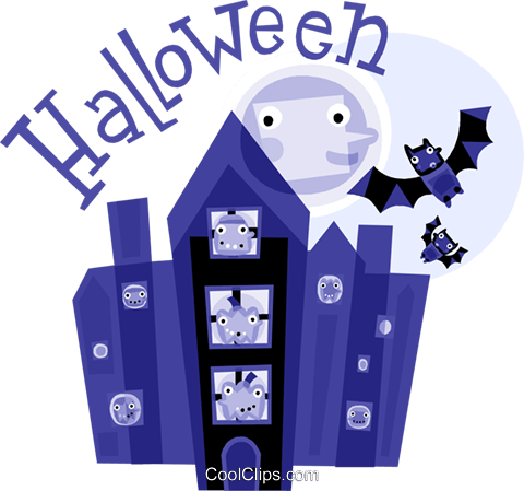 Haunted Houses Royalty Free Vector Clip Art illustration vc110850