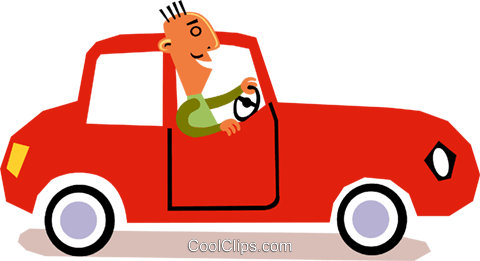 man driving a car Royalty Free Vector Clip Art illustration vc110901