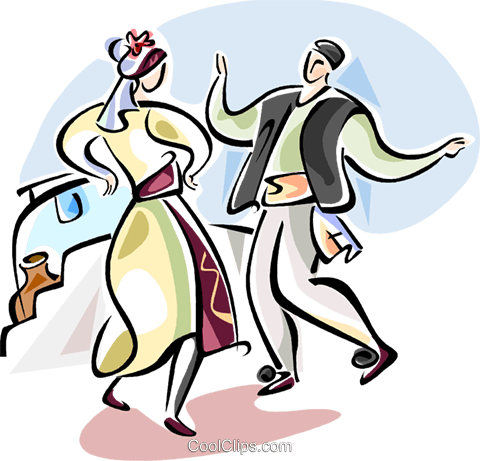 Traditional Greek dancing Royalty Free Vector Clip Art illustration vc110904