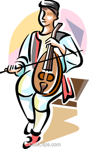 playing on a traditional Greek instrument Royalty Free Vector Clip Art illustration vc110912