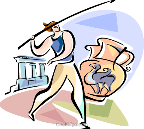 Athlete throwing the javelin Royalty Free Vector Clip Art illustration vc110915