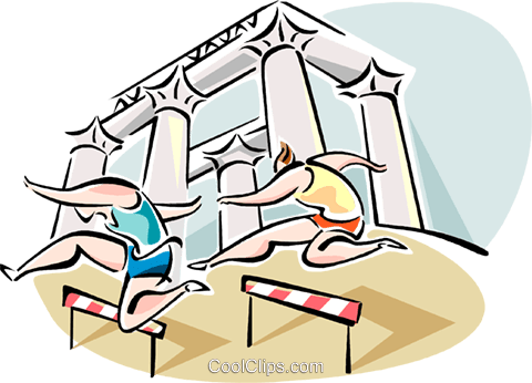 People jumping hurdles Royalty Free Vector Clip Art illustration vc110919