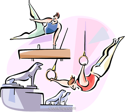 performing on the pommel horse and rings Royalty Free Vector Clip Art illustration vc110923