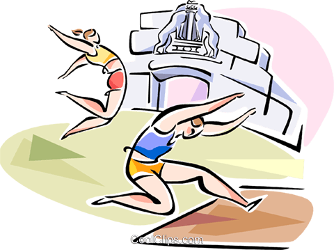 Long jumpers Royalty Free Vector Clip Art illustration vc110928
