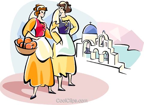Women in traditional Greek dress Royalty Free Vector Clip Art illustration vc110929