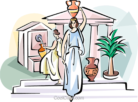 Women with amphora Royalty Free Vector Clip Art illustration vc110930