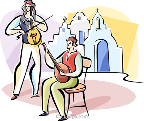 playing in front of Greek church Royalty Free Vector Clip Art illustration vc110933