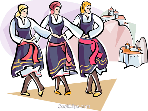 dancing in front of Meteor Monasteries Royalty Free Vector Clip Art illustration vc110934