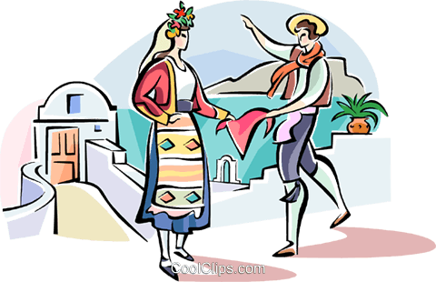 Traditional Greek dance Royalty Free Vector Clip Art illustration vc110935
