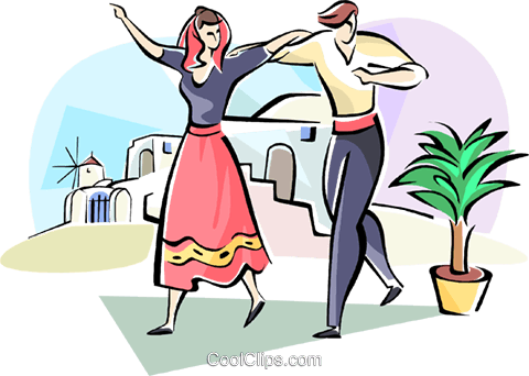 Sirtaki dancing Royalty Free Vector Clip Art illustration vc110940