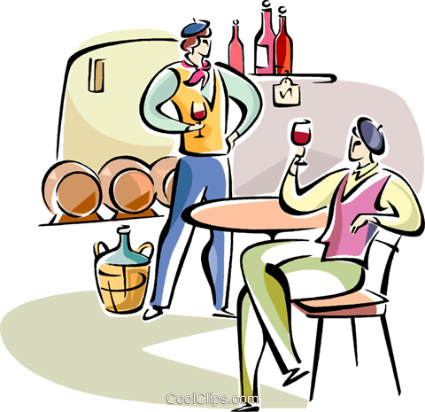 Frenchmen drinking wine Royalty Free Vector Clip Art illustration vc110943