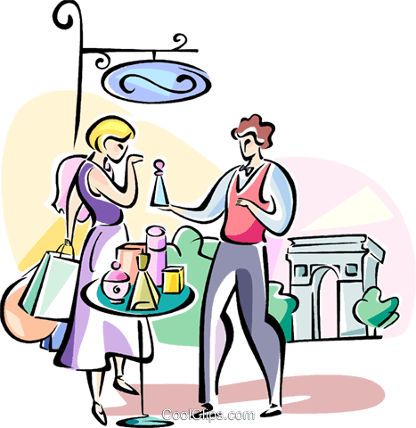 Shopping for French perfume Royalty Free Vector Clip Art illustration vc110945