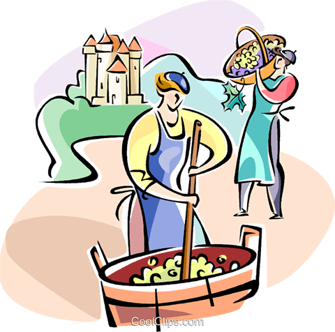 people making wine Royalty Free Vector Clip Art illustration vc110948