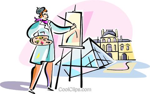 artist painting Louvre, Paris Royalty Free Vector Clip Art illustration vc110950