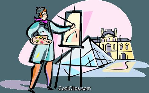 artist painting louvre paris royalty free vector clip art rh search coolclips com clipart paris france free clipart paris france free