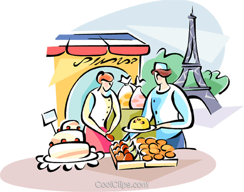 Pastry chef and the Eiffel Tower Royalty Free Vector Clip Art illustration vc110953