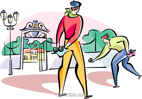 Frenchmen playing boules Royalty Free Vector Clip Art illustration vc110959