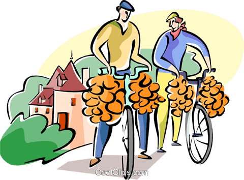 Frenchmen with onions on their bike Royalty Free Vector Clip Art illustration vc110960