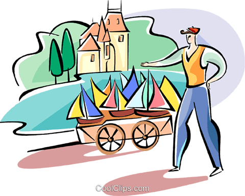 merchant selling toy boats Royalty Free Vector Clip Art illustration vc110961