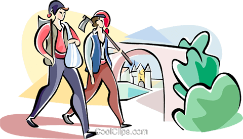 couple going to Stacada festival Royalty Free Vector Clip Art illustration vc110962