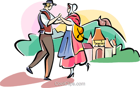 French traditional dancing Royalty Free Vector Clip Art illustration vc110963