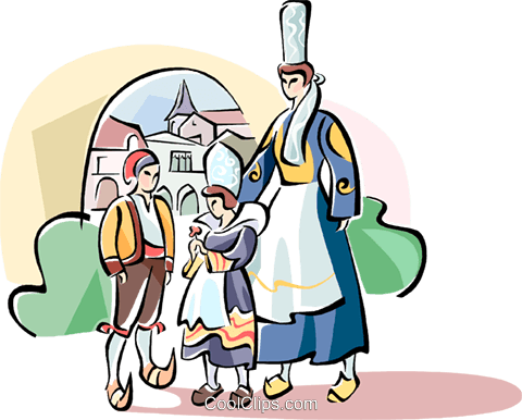 Family in traditional French dress Royalty Free Vector Clip Art illustration vc110966