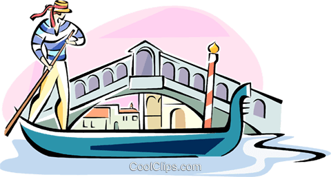 gondola passing the Rialto Bridge Royalty Free Vector Clip Art illustration vc110967