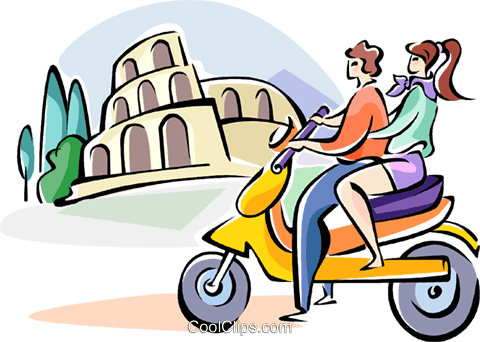 driving by the coliseum on a scooter Royalty Free Vector Clip Art illustration vc110968