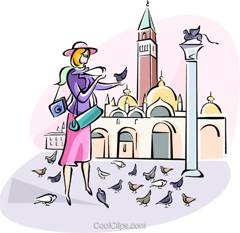 feeding the birds in St. Marks Square Royalty Free Vector Clip Art illustration vc110970