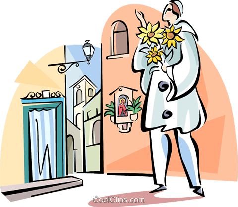 man with flowers Royalty Free Vector Clip Art illustration vc110982