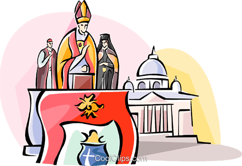 The Pope speaking at the Vatican Royalty Free Vector Clip Art illustration vc110988