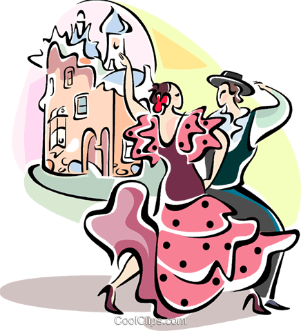 Flamenco dancers Royalty Free Vector Clip Art illustration vc110994