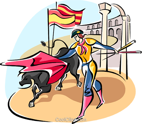 bull fighter Royalty Free Vector Clip Art illustration vc110995