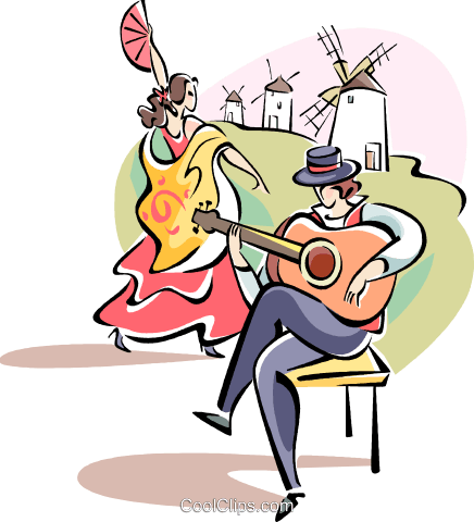 Spanish dancer and musician Royalty Free Vector Clip Art illustration vc110997