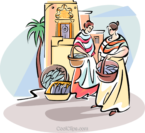 women shopping in the fish market Royalty Free Vector Clip Art illustration vc110998