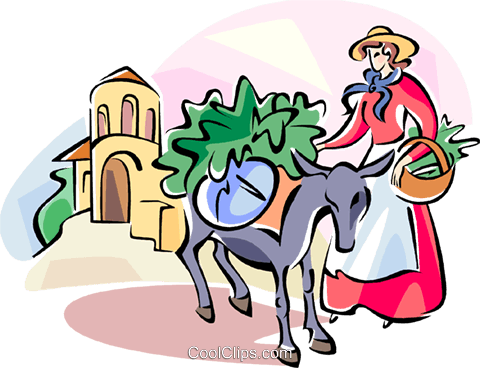 Spanish woman with a donkey Royalty Free Vector Clip Art illustration vc111002