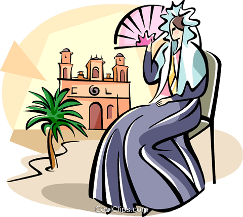 Spanish woman with a fan Royalty Free Vector Clip Art illustration vc111012