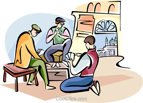 Spanish men playing cards Royalty Free Vector Clip Art illustration vc111018