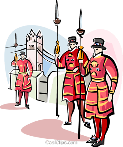 Beefeaters on guard Royalty Free Vector Clip Art illustration vc111019