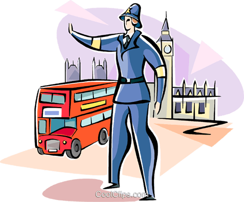 Traffic officer in London Royalty Free Vector Clip Art illustration vc111020
