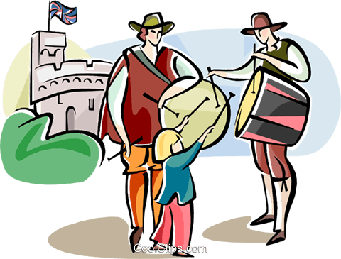 Englishmen in traditional dress Royalty Free Vector Clip Art illustration vc111023