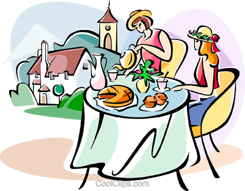 English women having breakfast Royalty Free Vector Clip Art illustration vc111025
