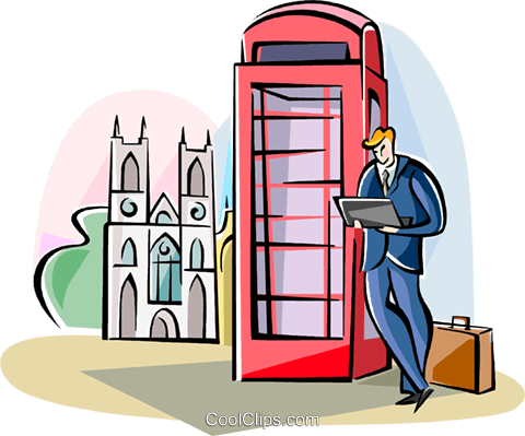 Englishman waiting for the bus Royalty Free Vector Clip Art illustration vc111027