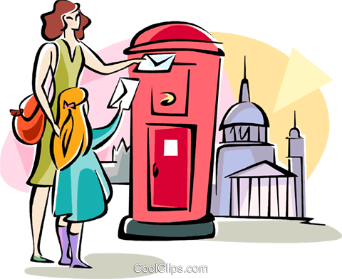 English woman dropping off her mail Royalty Free Vector Clip Art illustration vc111028