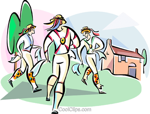 English Morris dancers Royalty Free Vector Clip Art illustration vc111029